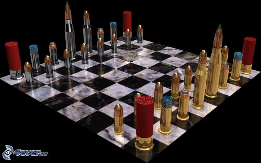 chessboard, ammunition