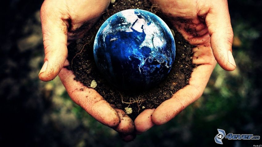 christmas ball, soil, Earth, hands