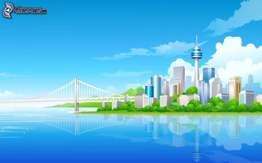 city, bridge, sea, skyscrapers