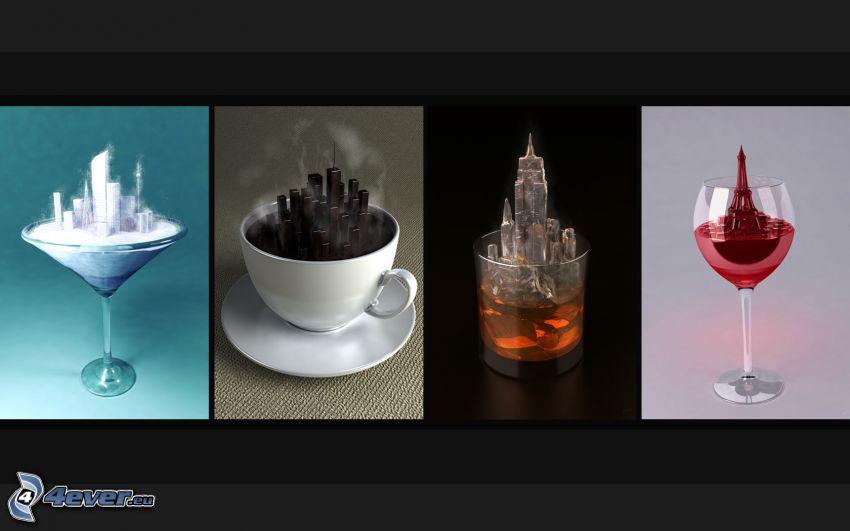 coffee, whisky, wine, Eiffel Tower, buildings