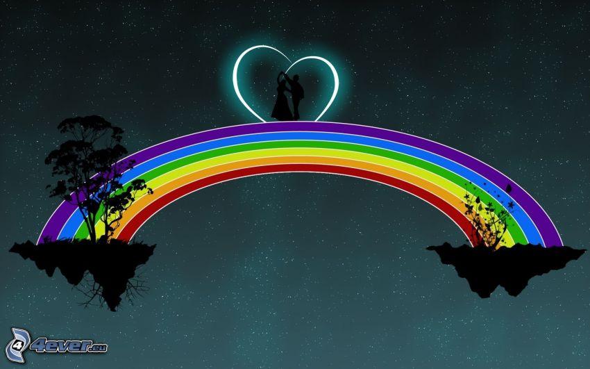 color rainbow, cartoon couple, heart, flying islands, silhouette