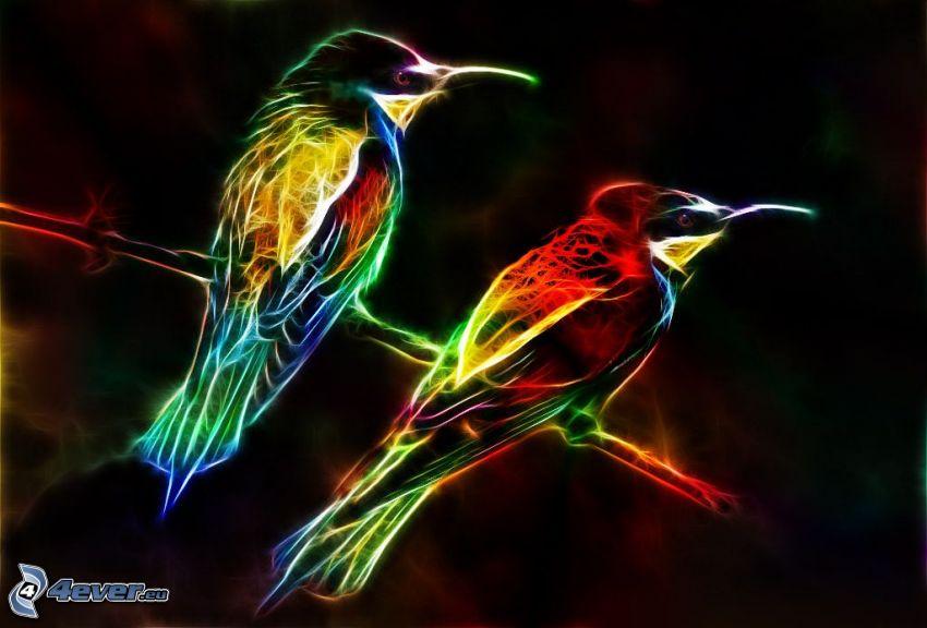 colored birds on a branch, fractal bird