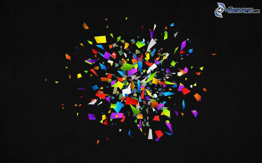 colored shapes, black background
