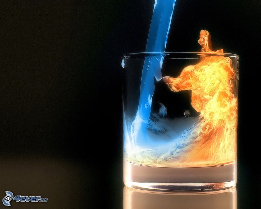 cup, fire and water