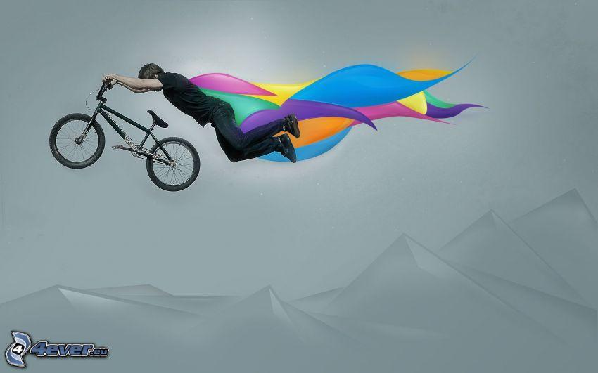 cyclist, BMX, flight, cloak, colors, hills