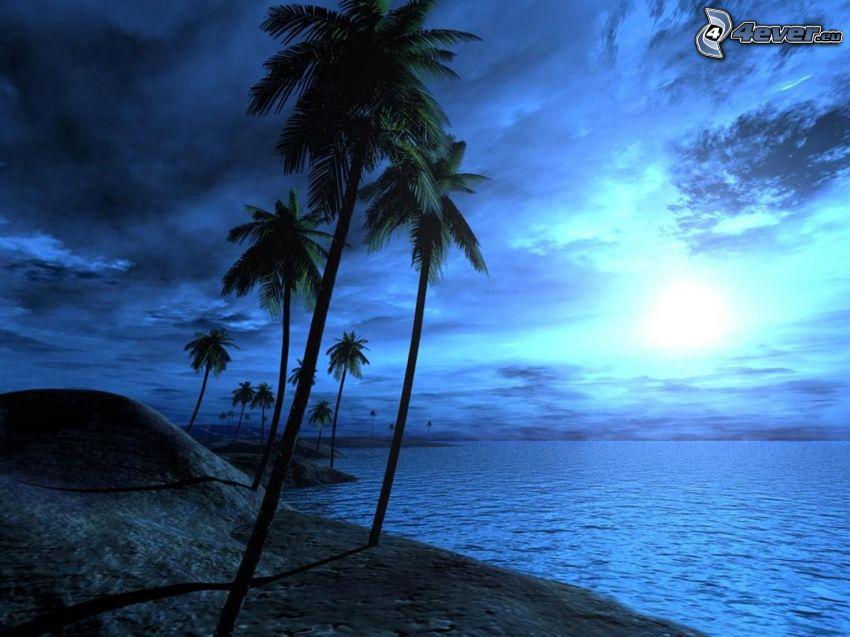 dark landscape, palm trees at sea, sunrise