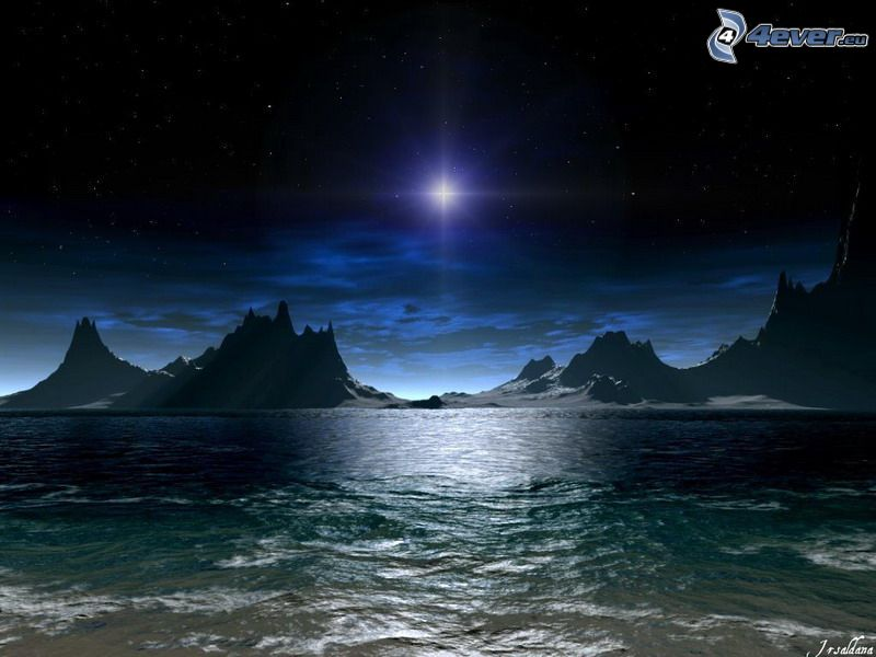 dark sea, star, night, mountain