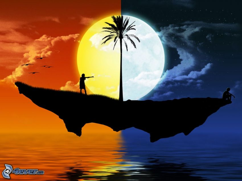 day and night, flying island, palm tree, sun, moon, silhouette of couple
