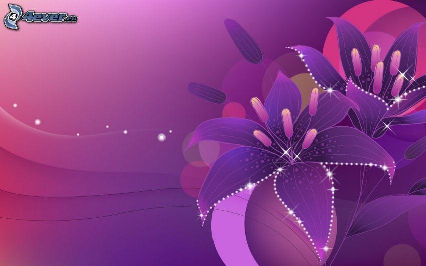 digital flowers, purple background