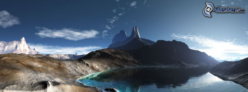 digital landscape, mountain lake