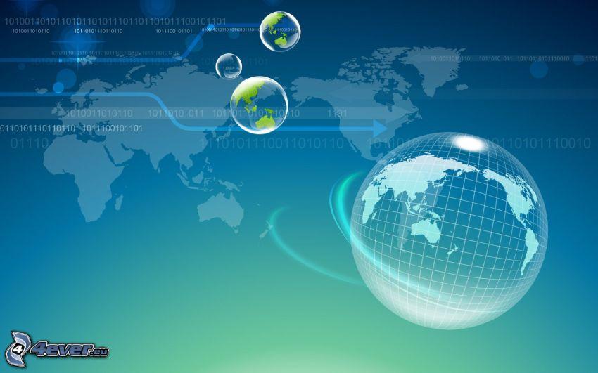 Earth, balls, world map, binary code