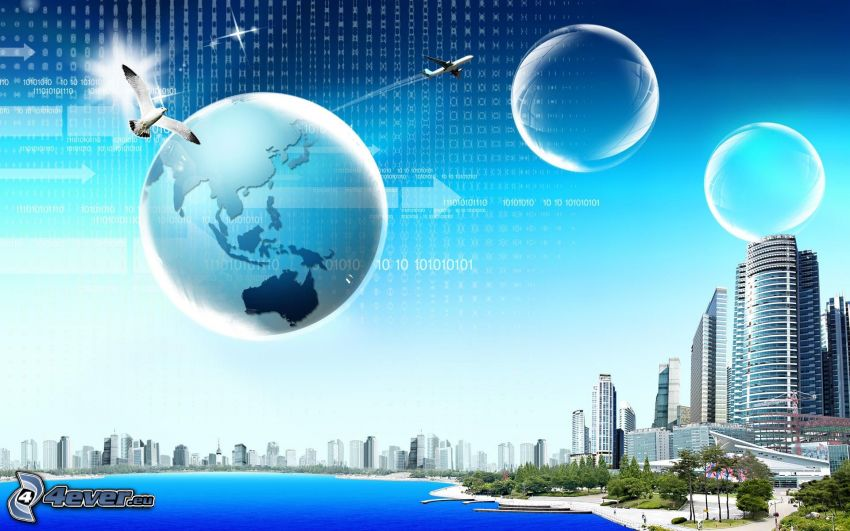 Earth, bubbles, skyscrapers, coast, sea
