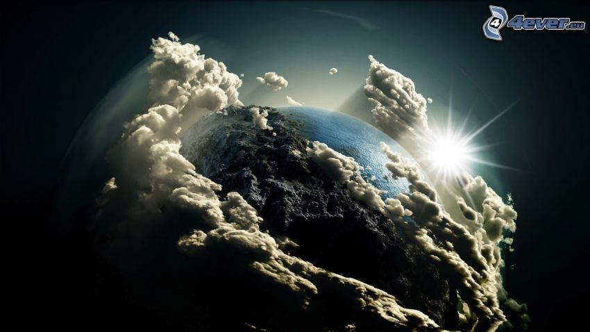Earth, clouds, sun
