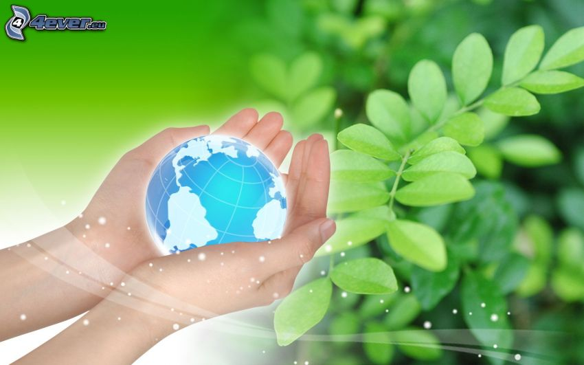Earth, hands, plants