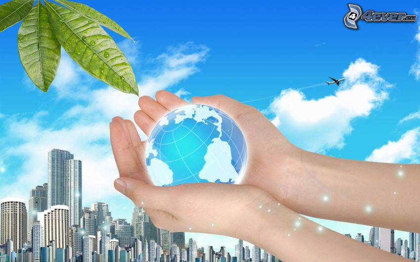 Earth, hands, skyscrapers, sky, green leaves, aircraft