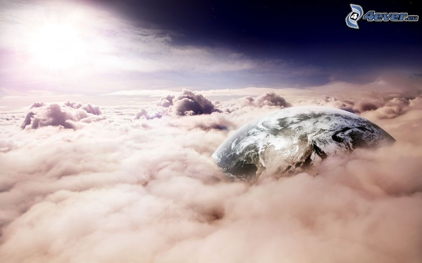 Earth, over the clouds, sun