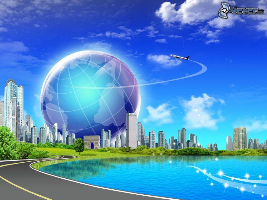 Earth, sky, skyscrapers, road, aircraft