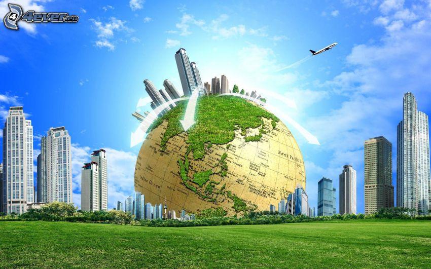 Earth, world map, skyscrapers, sky