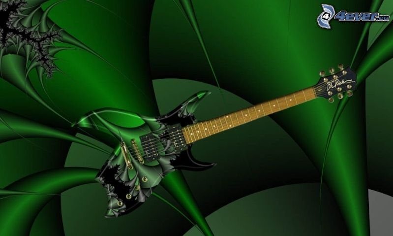 electric guitar, green background