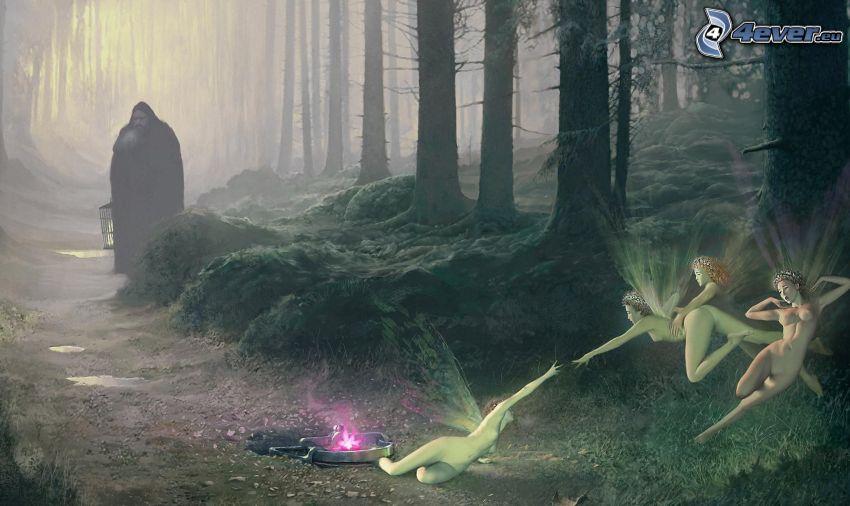fairy, cartoon forest, figure