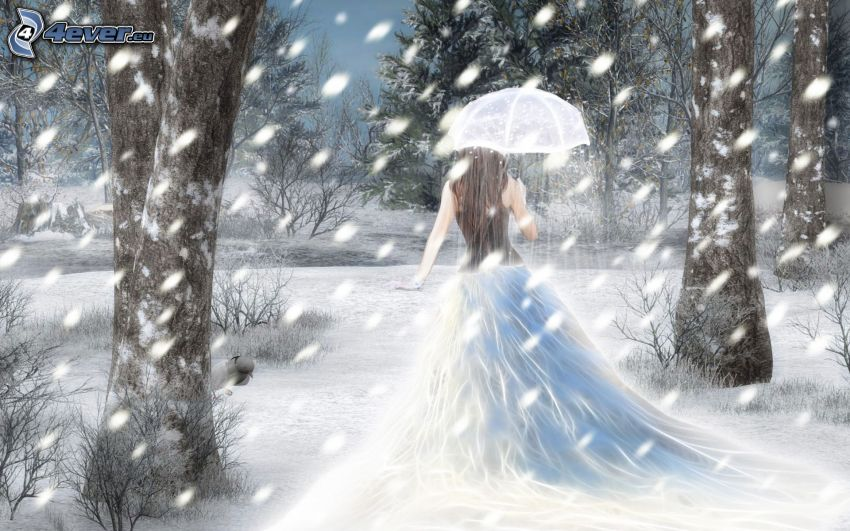 fairy, umbrella, forest, snowfall