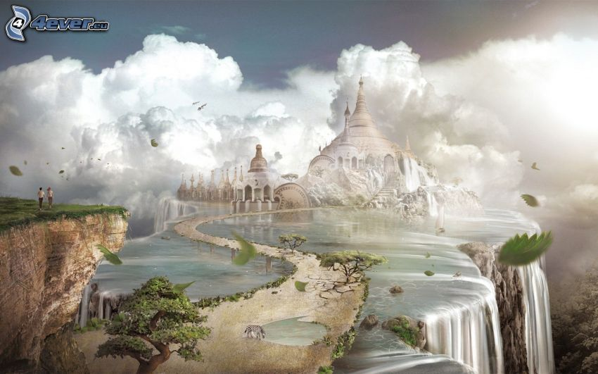 fairy tale land, castle, sidewalk, waterfalls