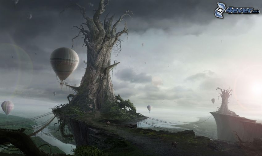 fantasy land, dry tree, hot air balloons