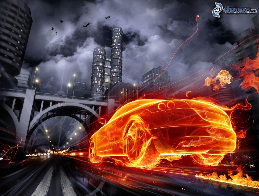fire car, night city, speed