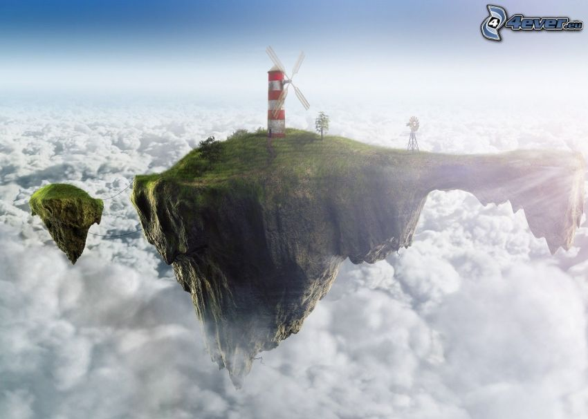 flying islands, windmill, lighthouse, over the clouds