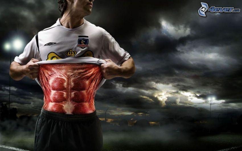 footballer, muscles, clouds