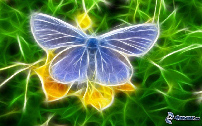 fractal butterfly, blue butterfly