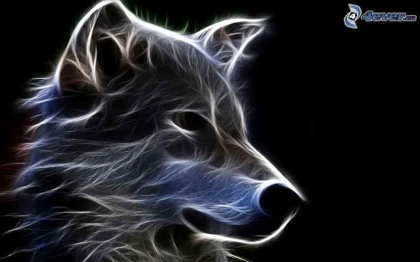 fractal wolf, fractal animals