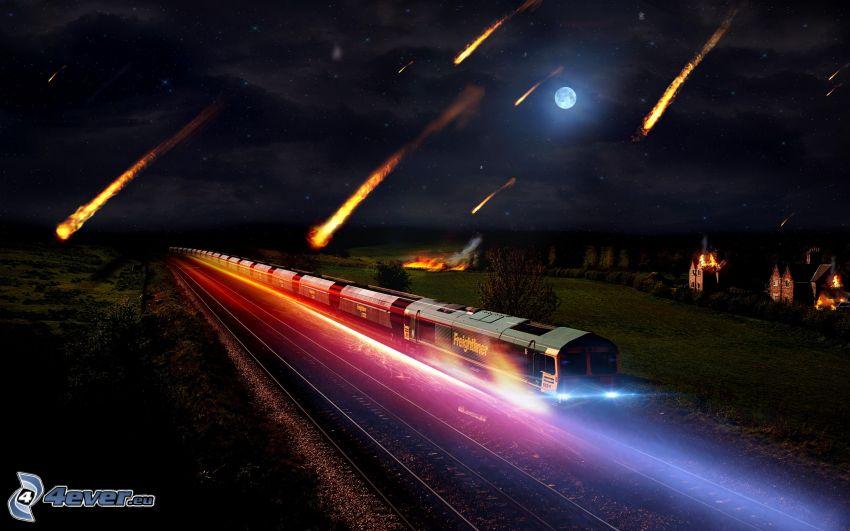 freight train, night, meteorites, rails, moon