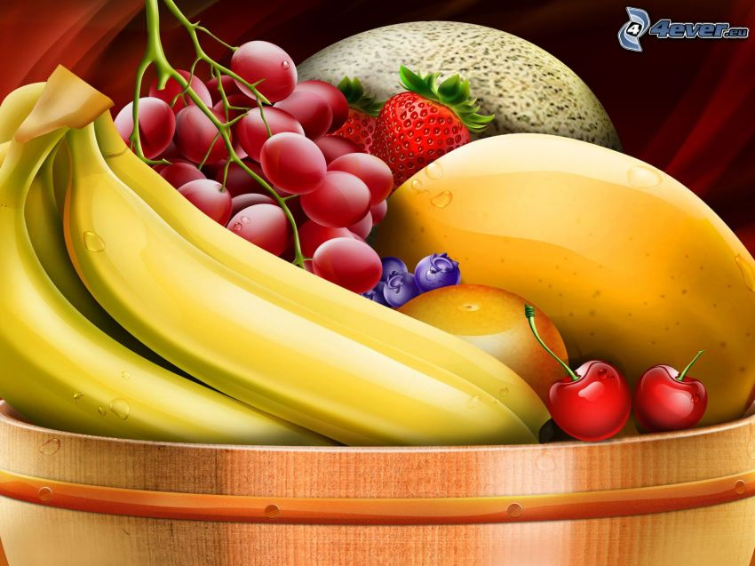 fruit, bananas, grapes, mango, cherries, strawberries, orange