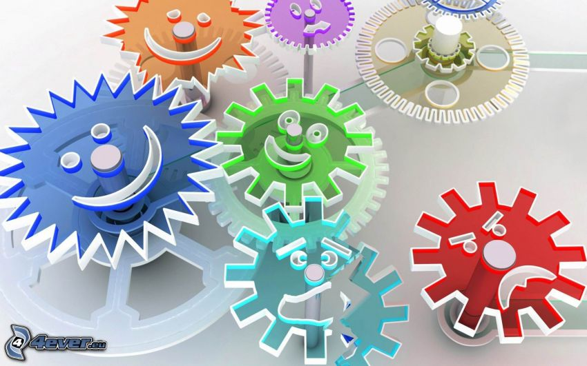 gears, smiles, colored