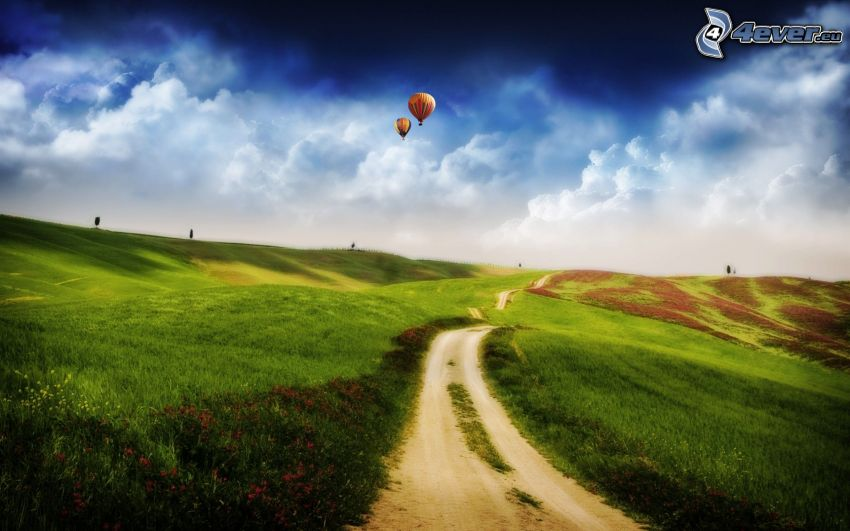 green country, field path, balloons