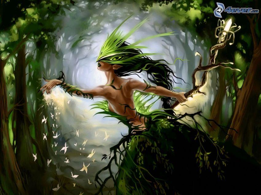 green fairy, fairy in woods, butterflies, fantasy