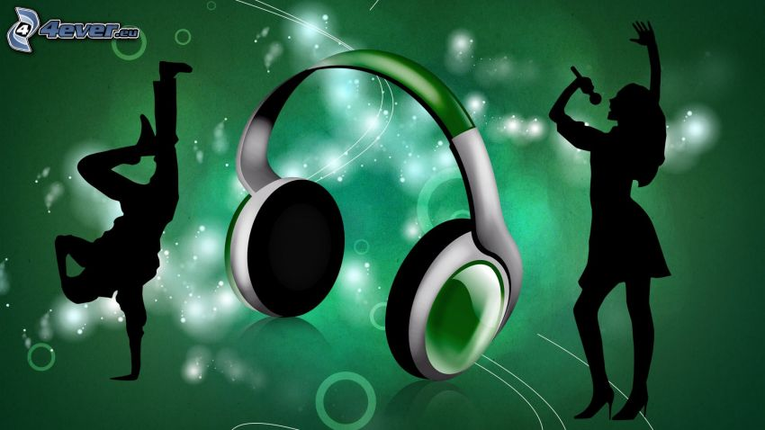 headphones, silhouettes of people, dance, green background