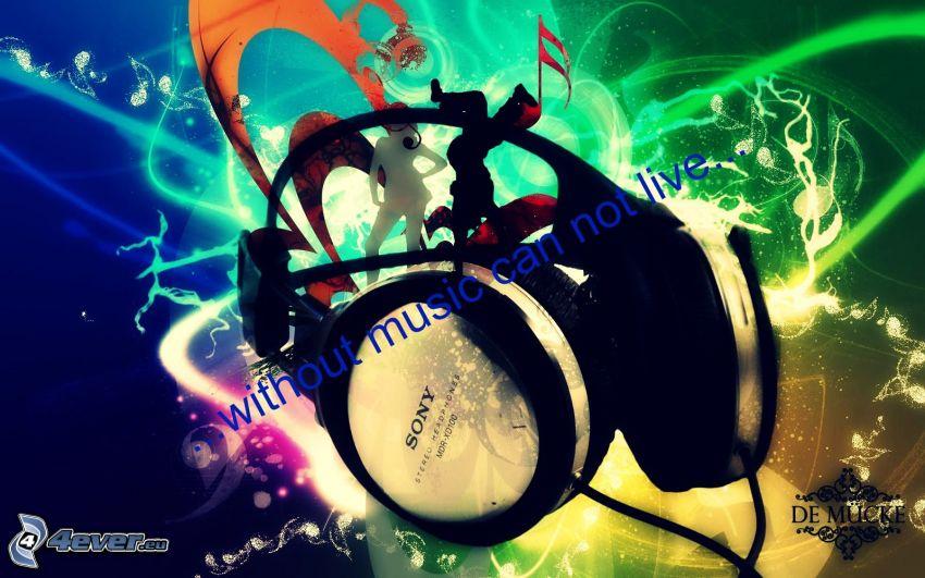 headphones, silhouettes of people