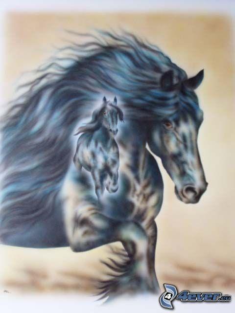 horses, animals, cartoon