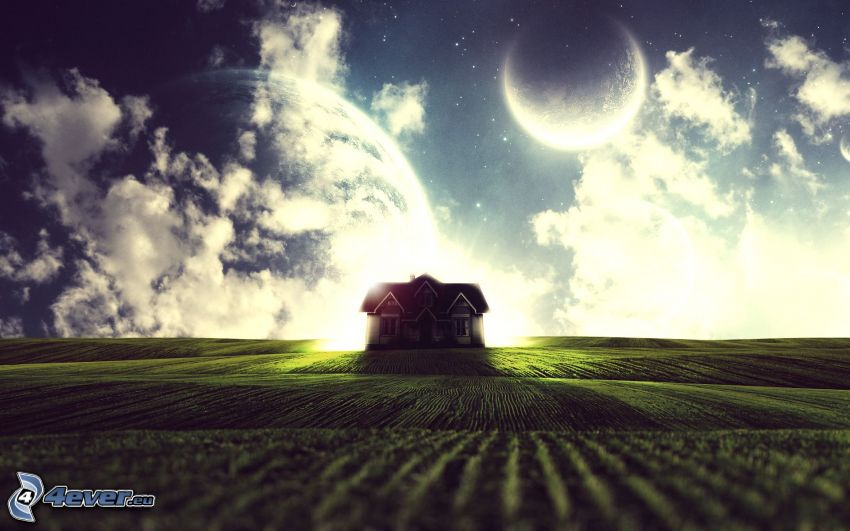 house, planets, field, clouds