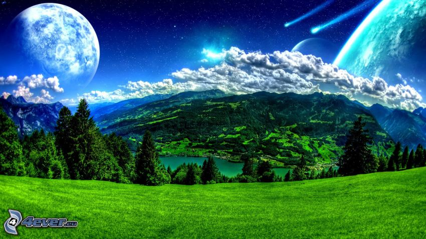 landscape, green meadow, hills, clouds, lake, planets