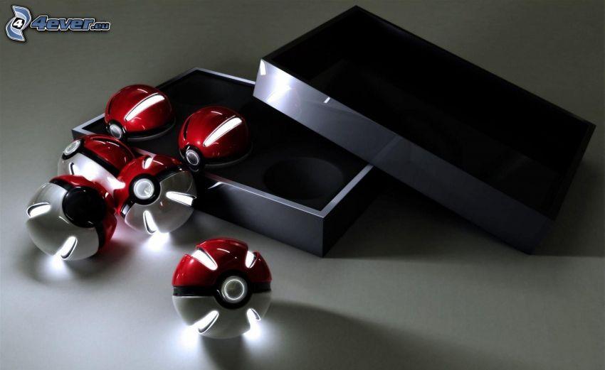 lighted balls, box