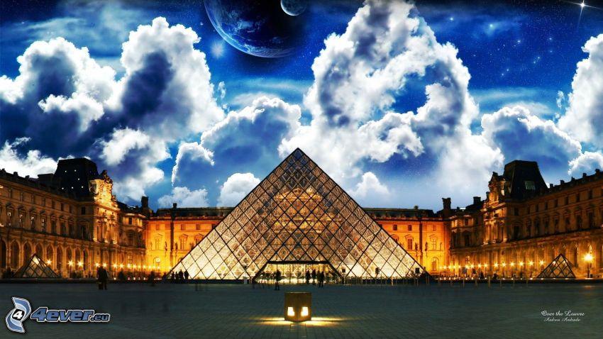 Louvre, pyramid, Paris, sky, planets, clouds