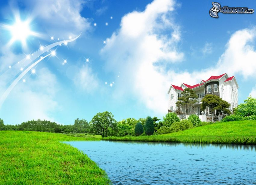 luxury house, River, clouds, white lines