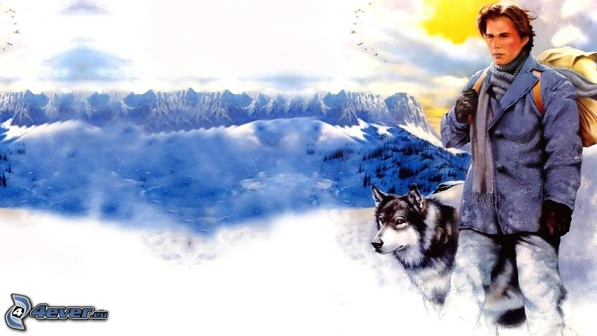 man with dog, mountains, snow, adventure