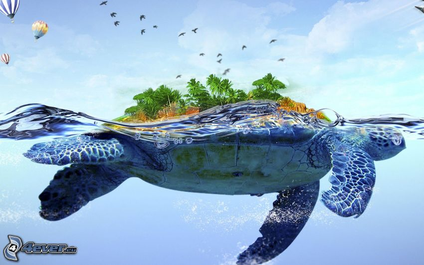 marine turtle, island, water, trees, birds, balloons, fantasy