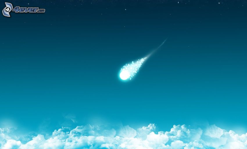 meteorite, over the clouds