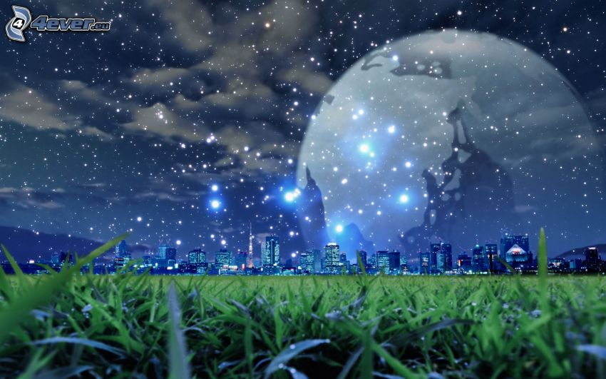 moon over the city, starry sky, grass