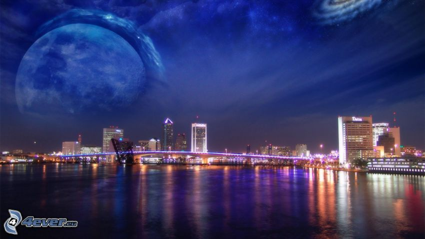 night city, River, planet, galaxy